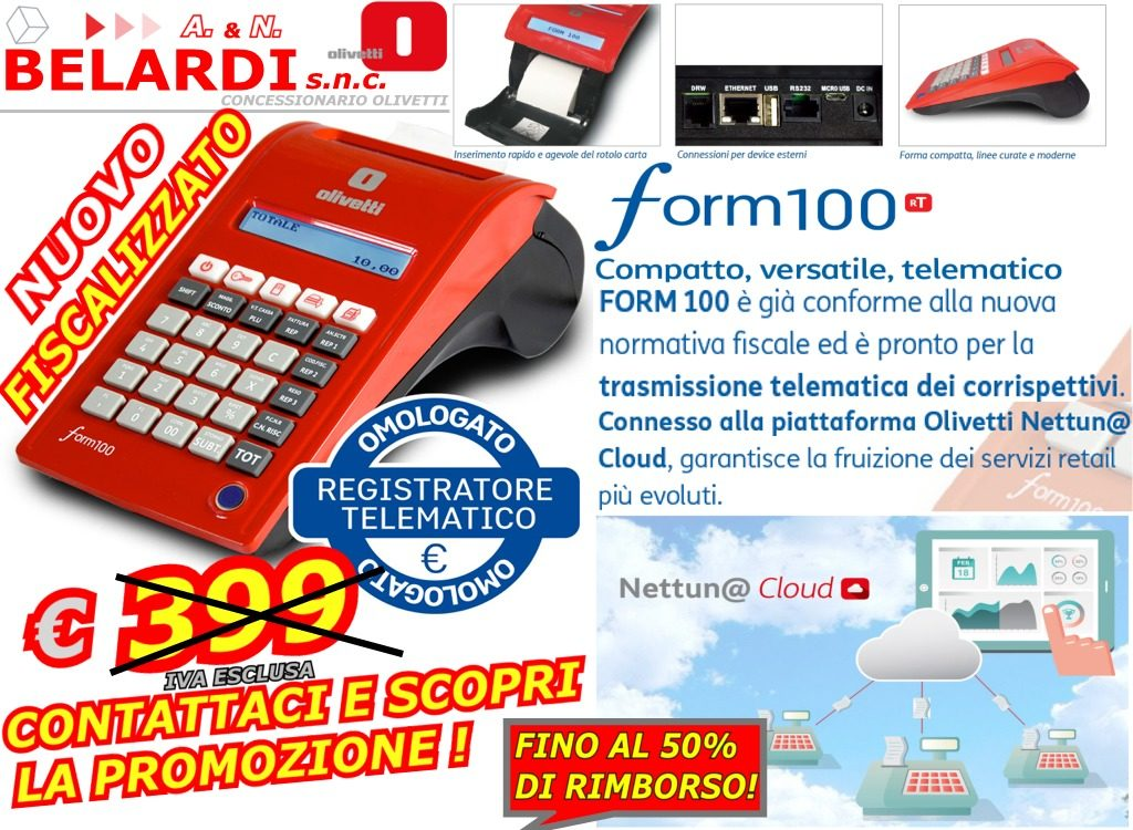 OFFERTA-REGISTRATORE-DI CASSA-TELEMATICO-PROMOZIONE-RIMBORSO-OLIVETTI-FORM-100