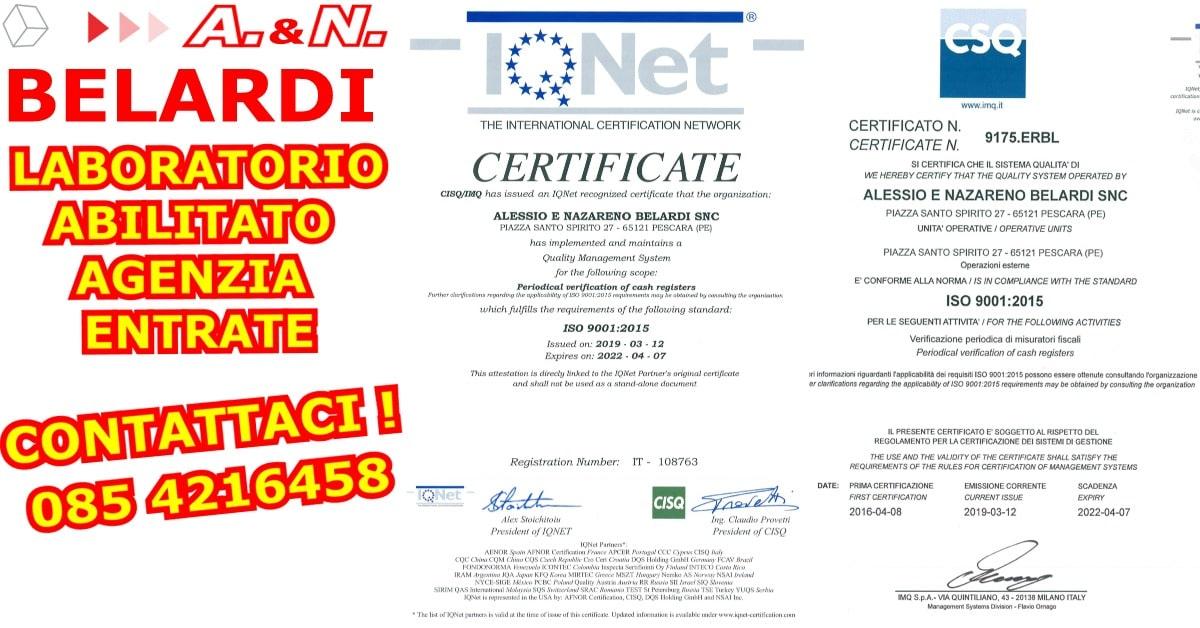 LABORATORIO-ABILITATO-AGENZIA-ENTRATE-CERTIFICATO ISO 9000-2015